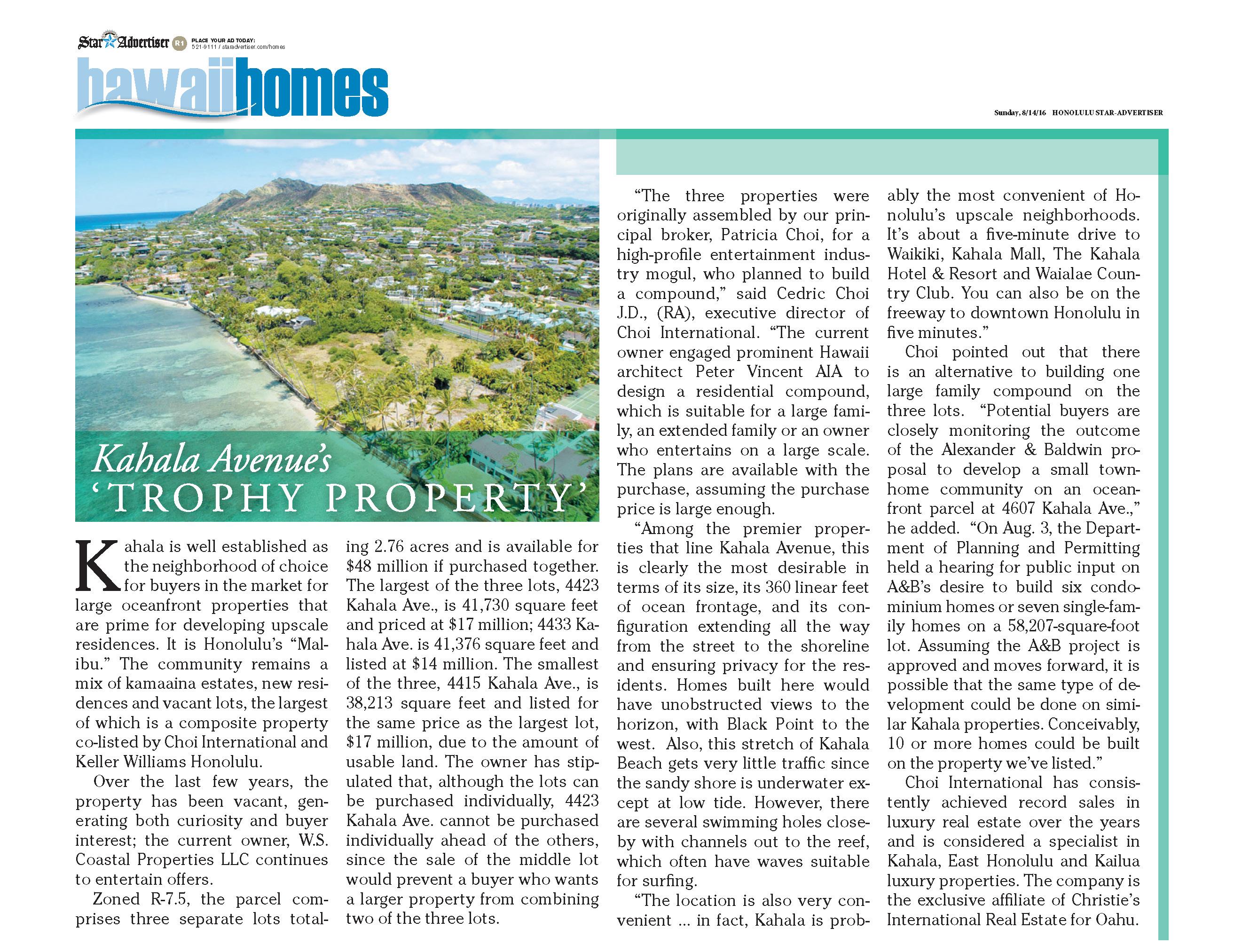 Star-Advertiser 8-14-16_Kahala Avenue's Trophy Property